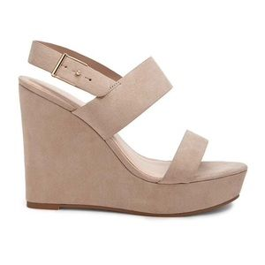 Taupe Faux Suede Wedges 7.5 NWT